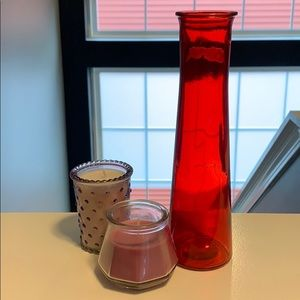 Red Pink Vase and Candle Set